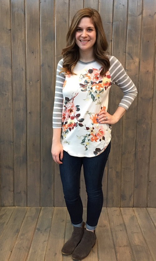 Floral Striped Sleeve Heather Top