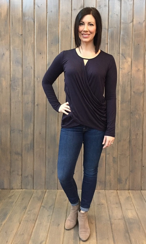 Navy Ballet Wrap Top