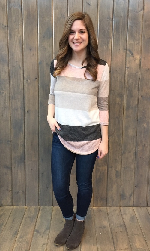 Pink & Grey Color Block 3/4 Sleeve Top