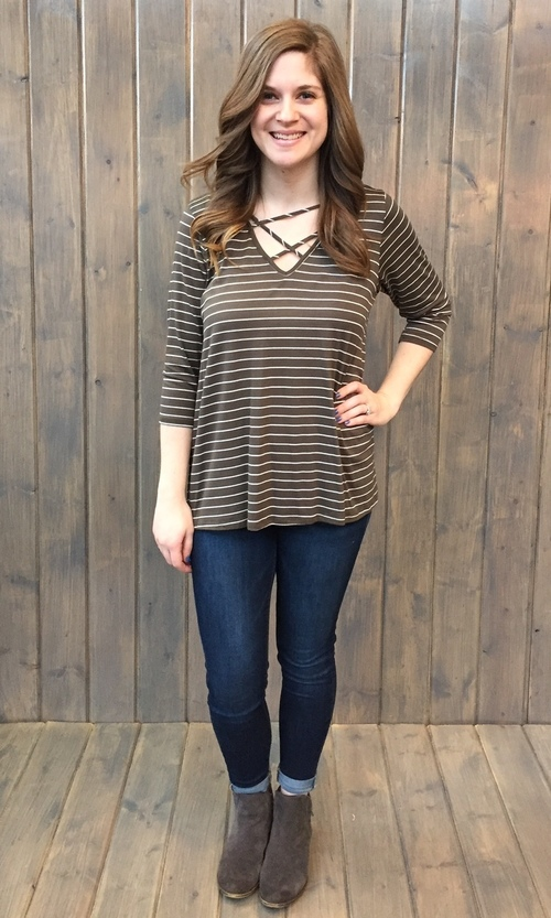 Olive Cross Over Knit Top