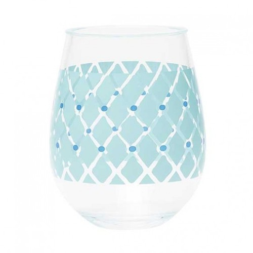 Acrylic Stemless Wine Glass Fish Net