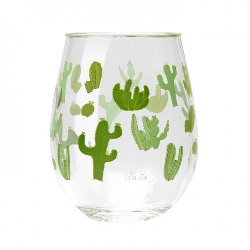 Acrylic Stemless Wine Glass Funky Cactus
