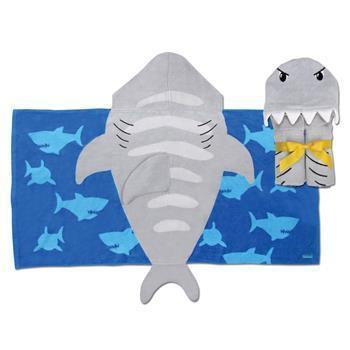 Shark Hooded Towel Grey