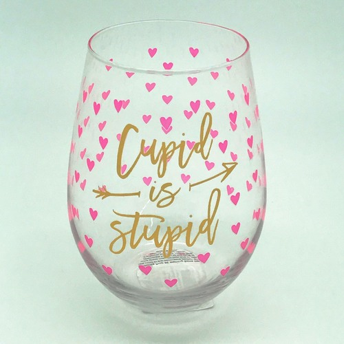 Cupid is Stupid Stemless Wine Glass