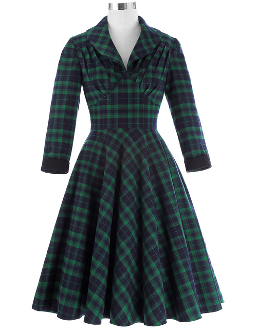 Laura Palmer Dress in Green Tartan