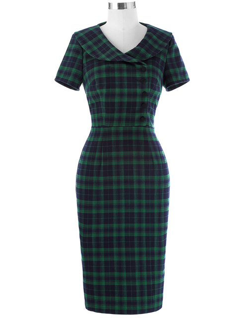 Audrey Horne Dress in Green Tartan *Online Exclusive*