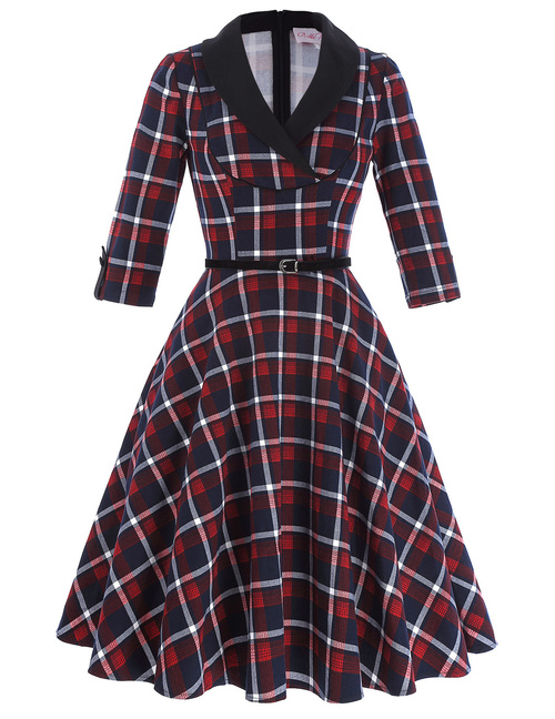 Shelly Dress in Red/Blue Tartan *Online Exclusive*