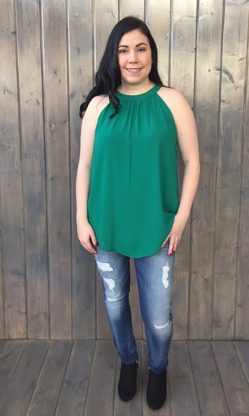 Emerald High Neck Halter Tunic