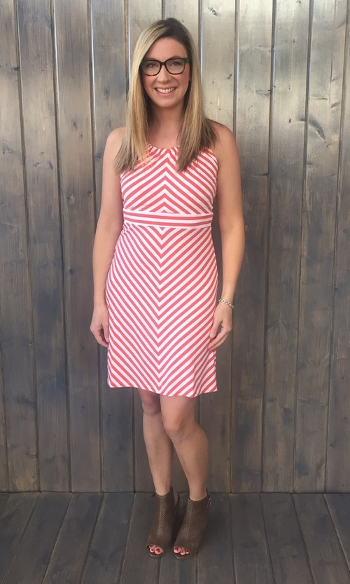 Striped Keyhole Orange Dress