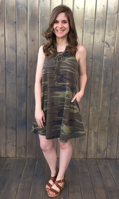 All Tied Up Dress Camo Green