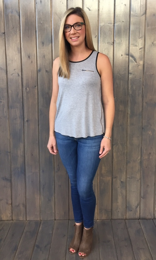 Trimmed Zipper Tank Heather