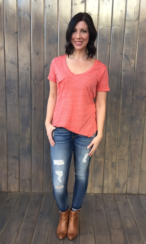 Sno Yarn Pkt Tee Spiced Coral