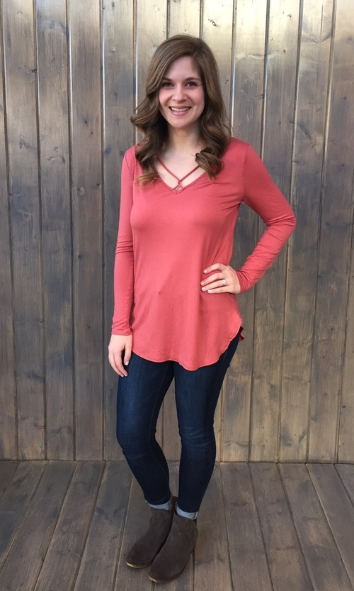 Criss Cross Marsala Tunic