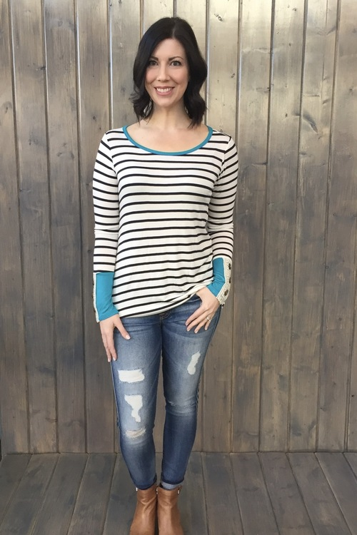 Teal Striped Crochet Sleeve Top