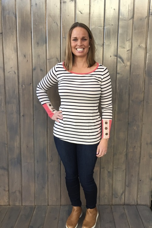 Coral Striped Crochet Sleeve Top