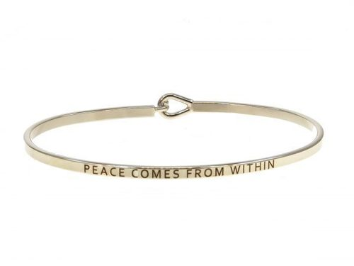 Peace Comes From Within Silver Bracelet