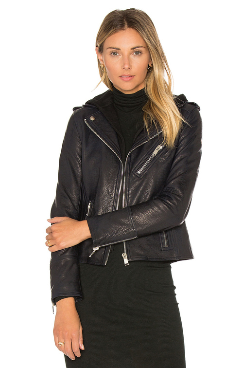 Bruce Straight Leather Hooded Jacket