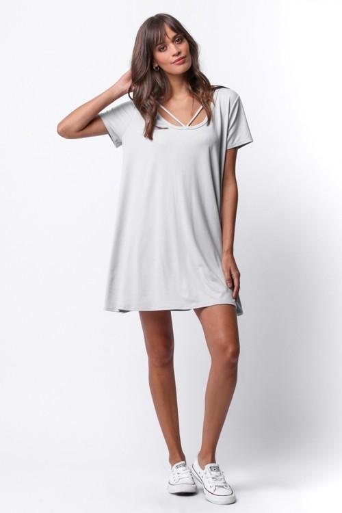 V Strap Short Sleeve Dress