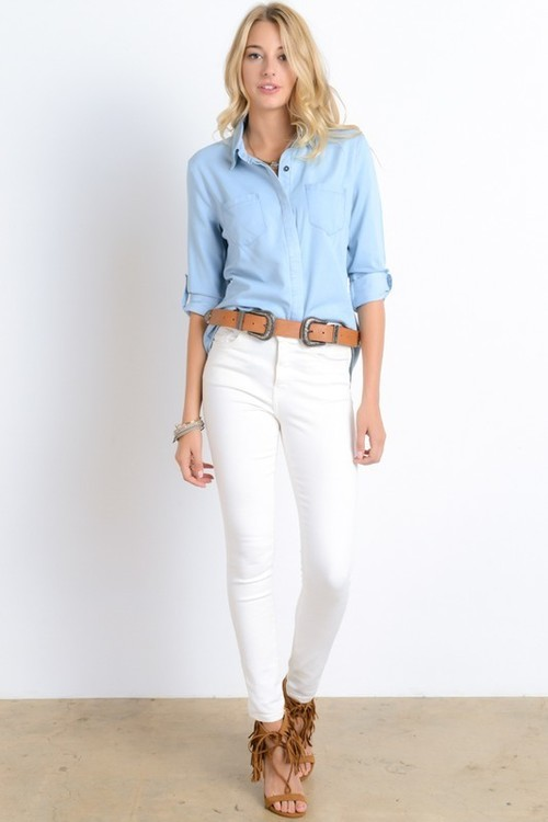 Split Tail Denim Top