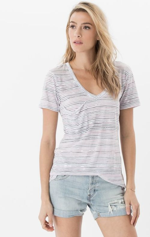 Nautical Stripe Pocket Tee Blossom Rose