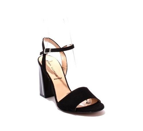 Black Suede Heel Ankle Strap Sandals