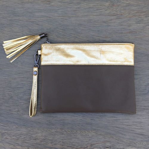 Two Tone Clutch Khaki/Gold