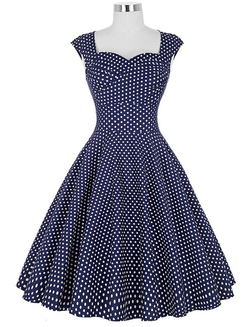 Rita dress in Blue polka dot