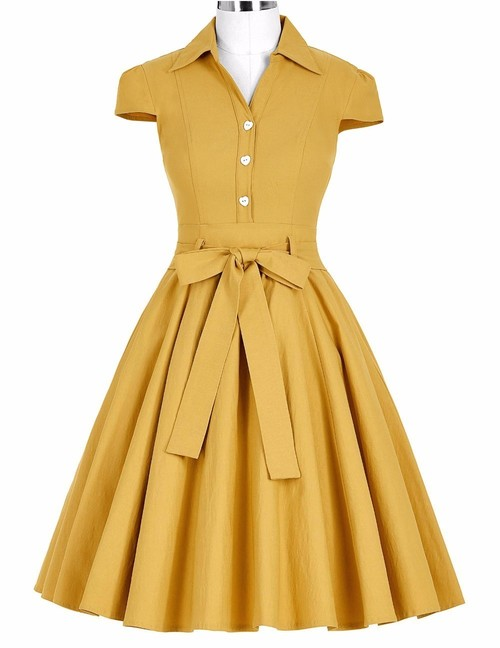 Twyla dress in Mustard Yellow or Black