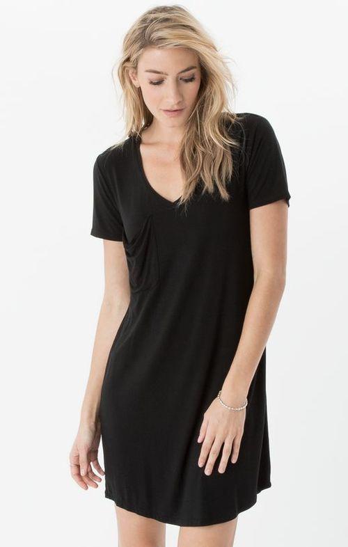 Pocket Tee Dress Black