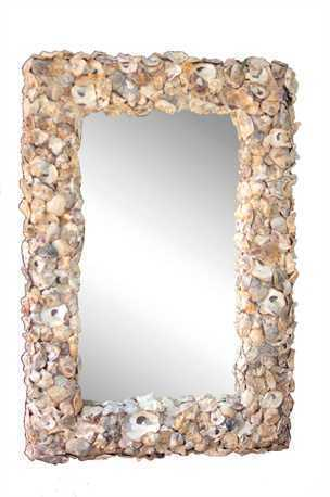 Oyster Shell Framed Mirror  26L x 37-1/2H
