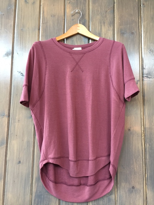 French Terry Short Sleeve Stitch Pullover Red Bean