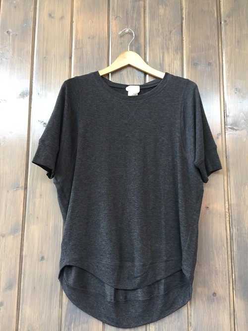 French Terry Short Sleeve Stitch Pullover Charcoal