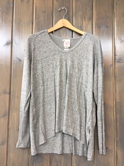 Brushed Jersey Rib Shoulder Pullover Heather Grey