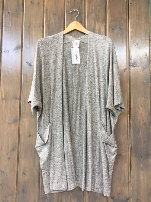 Brushed Jersey Short Sleeve Cardigan Heather Grey