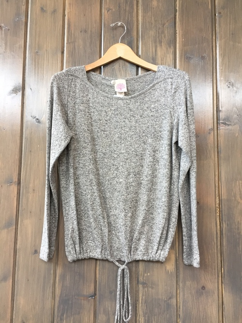 Brushed Jersey Drawstring Heather Grey Pullover