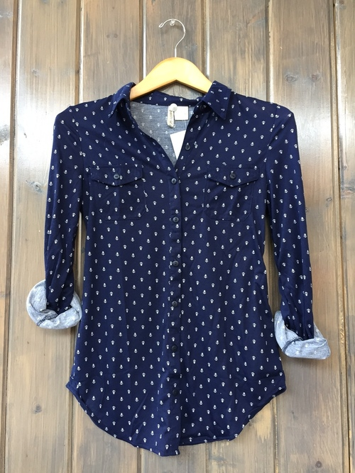 Navy Anchor Knit Button Down