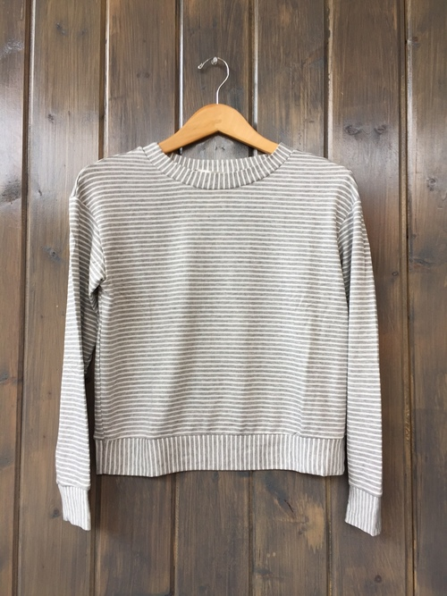 French Terry Heather Grey Stripe Crop Sweatshirt