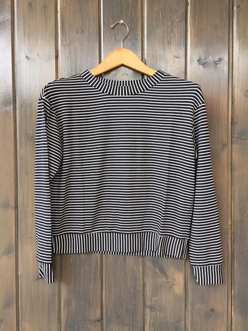 French Terry Nocturnal Stripe Crop Sweatshirt