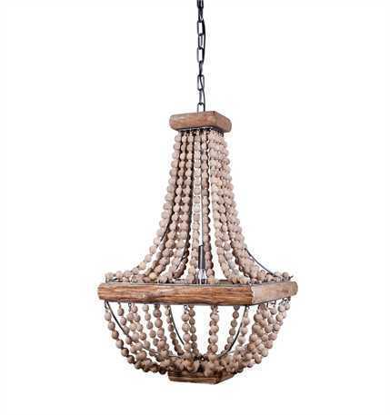 "Metal Chandelier w/ Wood Beads 16-1/2"" Square x 28""H"