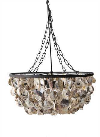 "Oyster Shell Pendant Chandelier 20"" Round x 9-3/4""H"