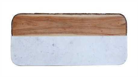 White Marble & Mango Wood Cheese Board