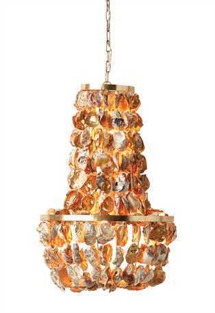 Oyster Shell w/ Gold Paint Pendant Chandelier