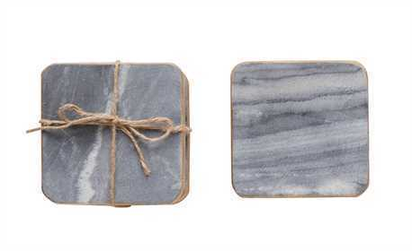 Square Marble Coasters, Grey w/ Gold Edge