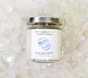 Blue Lace Agate Crystal Candle- 4oz