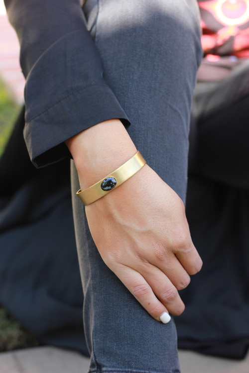 Thin Brass Cuff SF Obsidian