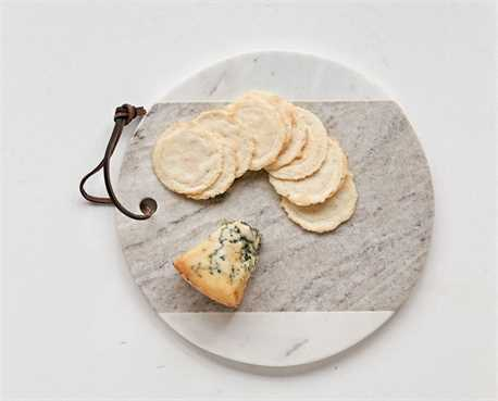 "9"" Round White Marble Wood Cheese Board"