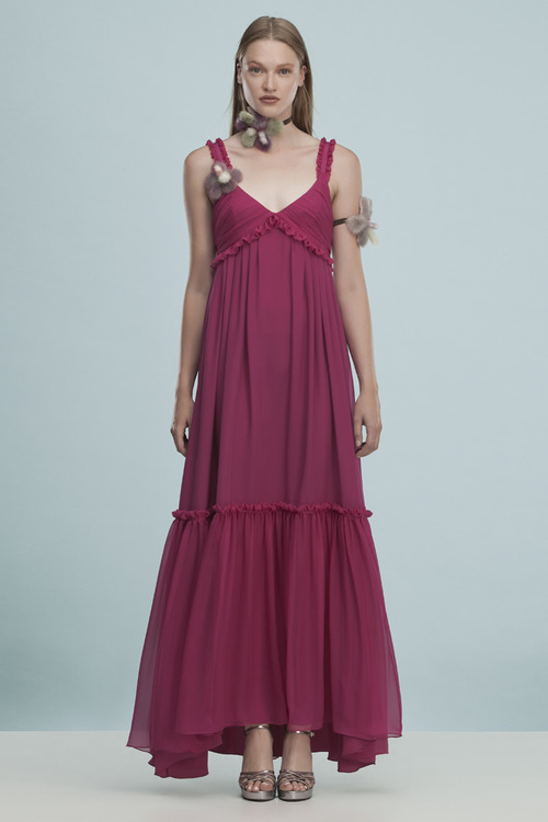 Silk Long Dress with Mink Flower