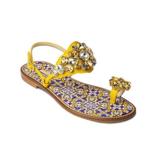 Embellished Sandal with Leather Strap