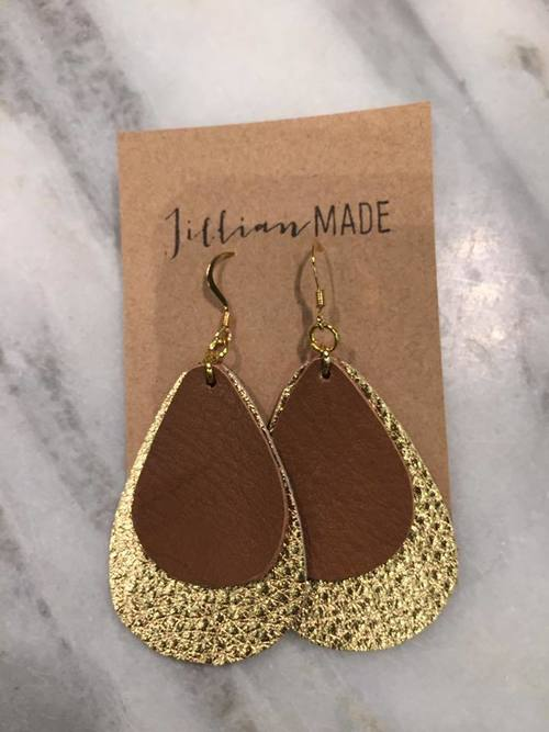 Gold and Brown Double Layer Leather Earrings