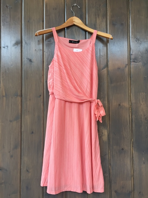 Coral Striped Side Tie Dress